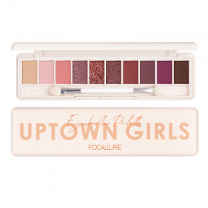 10 Shades Eye Shadow Palette Glitter Nude Waterproof 4 Textures Palette With Dual-ended Brush & Mirror Makeup